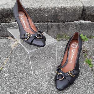 Jeffery Campbell Depoe Black Leather Buckle Heels